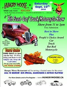 Sept 10th Hungry Moose Rib Feast and Car Show
