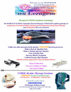 3 FREE 40 mins. Massage Sessions CERAGEN London Ontario image 1