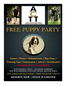 FREE Puppy Party - May 15th - 1:00pm