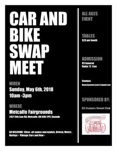 May 6th Metcalfe Spring Swap Meet! Book your table now!