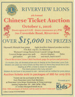 Riverview Lions Club 5th Annual Chinese Ticket Auction