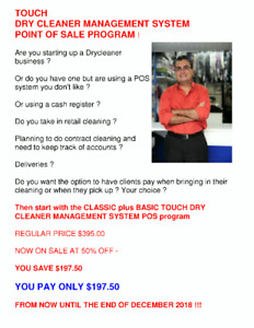 AUTOMATE YOUR DRY CLEANER WITH A TOUCH POS SYSTEM ! NOW 50% OFF