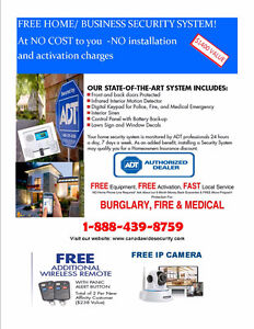 FREE ALARM SYSTEM FOR HOME OR BUSINESS SAVING OF $1500
