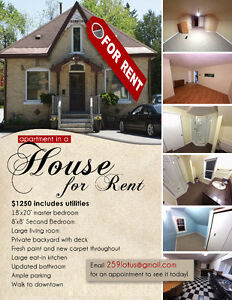 2 Bedroom with Backyard Close to Downtown