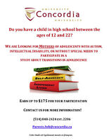 Mothers of adolescents ages 12-22 wanted for study