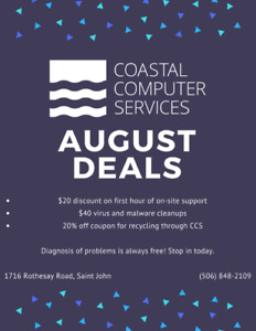 Coastal Computer Services August Deals! (House calls, Viruses)