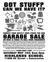 Highlands School Fundraiser: Rent a table or donate your items!