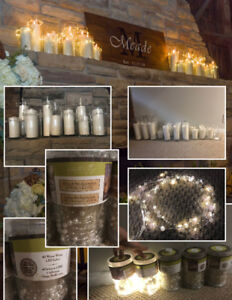 22 Candles Vases, 19 Pillar Candles & 5 Pearl String Lights