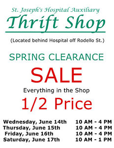 St. Joseph's Hospital Auxiliary Thrift Shop Spring Clearance