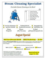 Professional Steam Cleaning Services - AUGUST SPECIAL