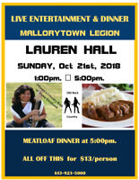 Mallorytown Legion Live Entertainment and Dinner
