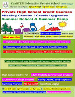 High school credit courses, Ministry approved school, open 7 day