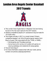 London Area Angels Senior Baseball Club Tryouts
