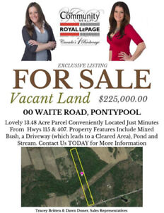 13.48 Acres of Vacant Land for Sale in Beautiful Kawartha Lakes
