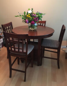 Bar Height Dining Table with Leaf and Four Chairs