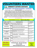 Community Clothing Assistance volunteer opportunities!  Excellen
