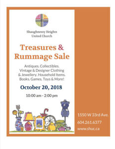 Treasures and Rummage Sale October 20th at 10 am!