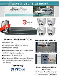 Professional 4 camera 5MP Ultra HD security cameras package