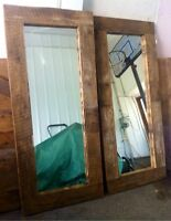Large mirror framed with authentic barn wood