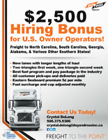 Canada&US Brokers! $2500 Sign on Bonus, Longer Lanes!!!