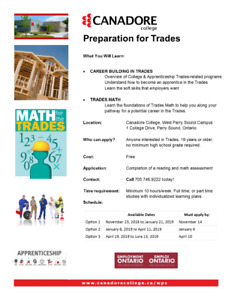 Preparation for Trades, Canadore College, Parry Sound
