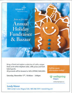 LUNDY MANOR'S HUGE BAZAAR/FUNDRAISER FOR WELSPRING NIAGARA !!