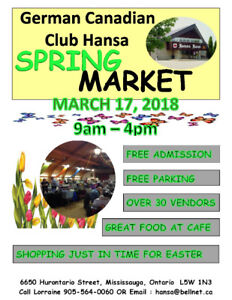 Annual Spring Market  At The Hansa Haus