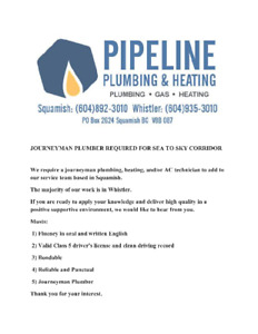 JOURNEYMAN PLUMBER/HEATING TECHNICIAN REQUIRED FOR SEA TO SKY CO