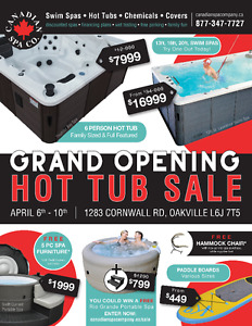 CANADIAN SPA COMPANY - GRAND OPENING HOT TUB SALE