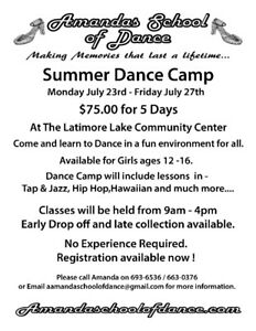 Summer Dance camp girls ages 12-16