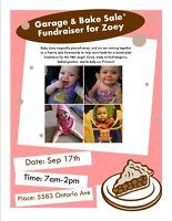 Garage/Bake Sale & Raffle Fundraiser for Baby Zoey