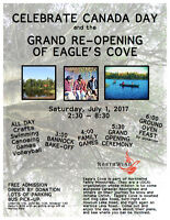 Celebrate CANDADA DAY and the GRAND RE-OPENING OF EAGLE'S COVE