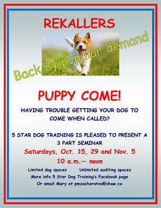 DOG SEMINAR - COMING WHEN CALLED!