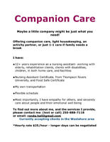 Offering supportive and loving Companion Care