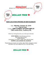 The Dollar Tree Hiring Event (looking for over 20 positions)
