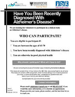 Need Volunteers Recently Diagnosed with Alzheimer's Disease