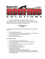 Roofing Sub-Crew Wanted