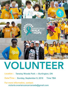 Volunteers needed for the Ovarian Cancer Canada Walk of Hope!