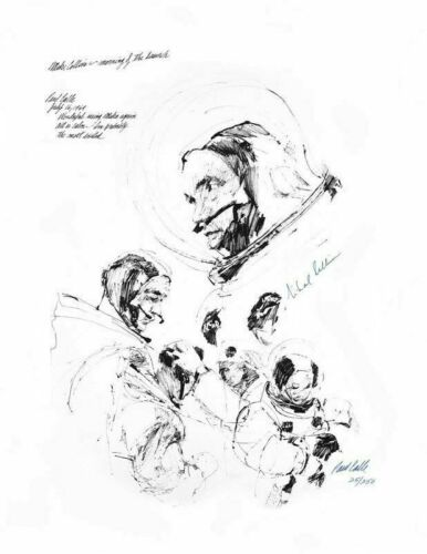 APOLLO 11 ASTRONAUT MICHAEL COLLINS SIGNED SUITING UP PRINT, ARTIST PAUL CALLE