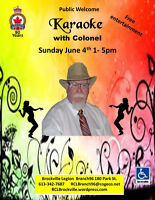 Karaoke with Colonel Sunday June 4th