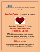 VALENTINE'S DINNER & DANCE at the Marconi Club