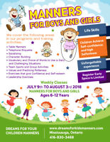 Summer Camp Mississauga Kids Manners Full & Half Day