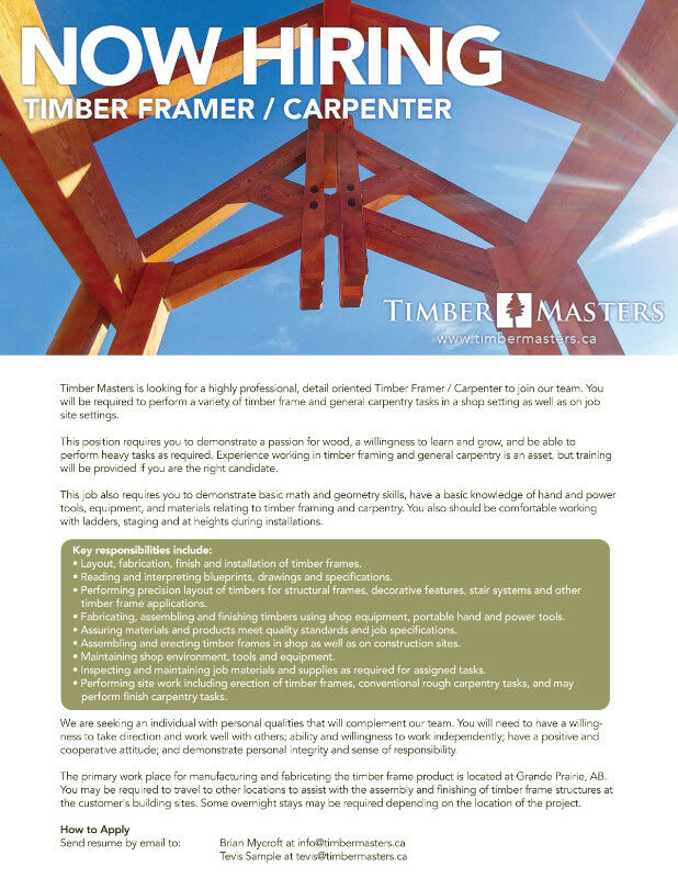Timber Crafters Wanted | Construction & Trades | Grande Prairie | Kijiji