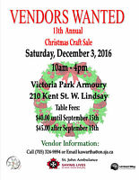VENDORS STILL NEEDED FOR DECEMBER 3rd CRAFT SALE