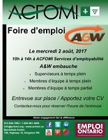 Foire d'emploi pour A&W / A&W Job Fair