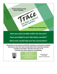 UBC Cannabis Research Study Volunteers- TRACE4Parents