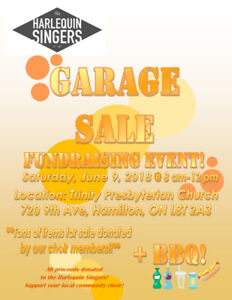 Harlequin Singers Fundraising Garage Sale and BBQ
