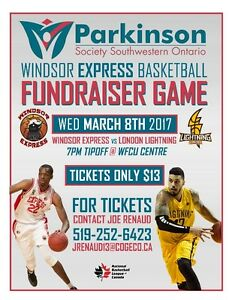 Windsor Express Tickets, fundraiser for Parkinson's