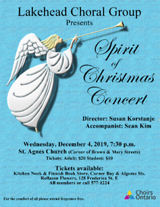 SPIRIT OF CHRISTMAS CONCERT - Lakehead Choral Group - Dec. 4