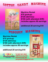Popcorn and Cotton Candy Machines for Rent.